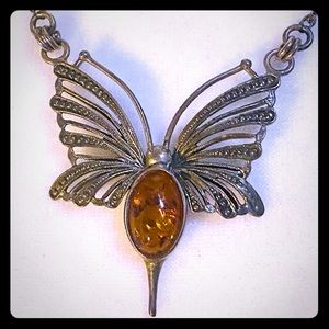 Vintage Silver Amber Butterfly Chocker Necklace